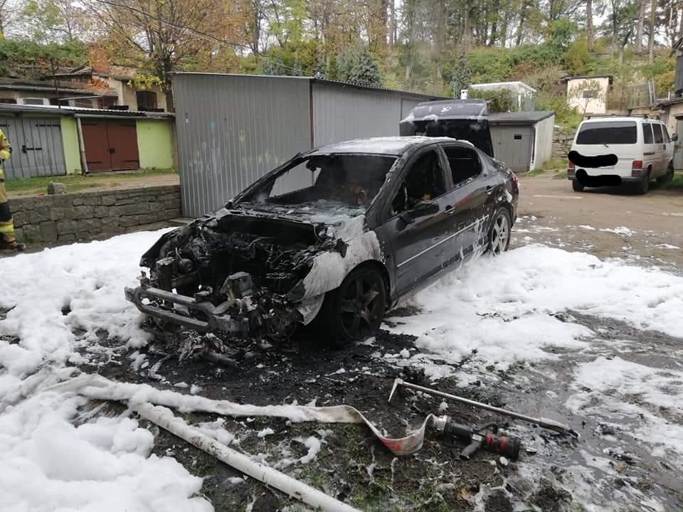 Płonęło auto przy ul. Niepodległości [FOTO]