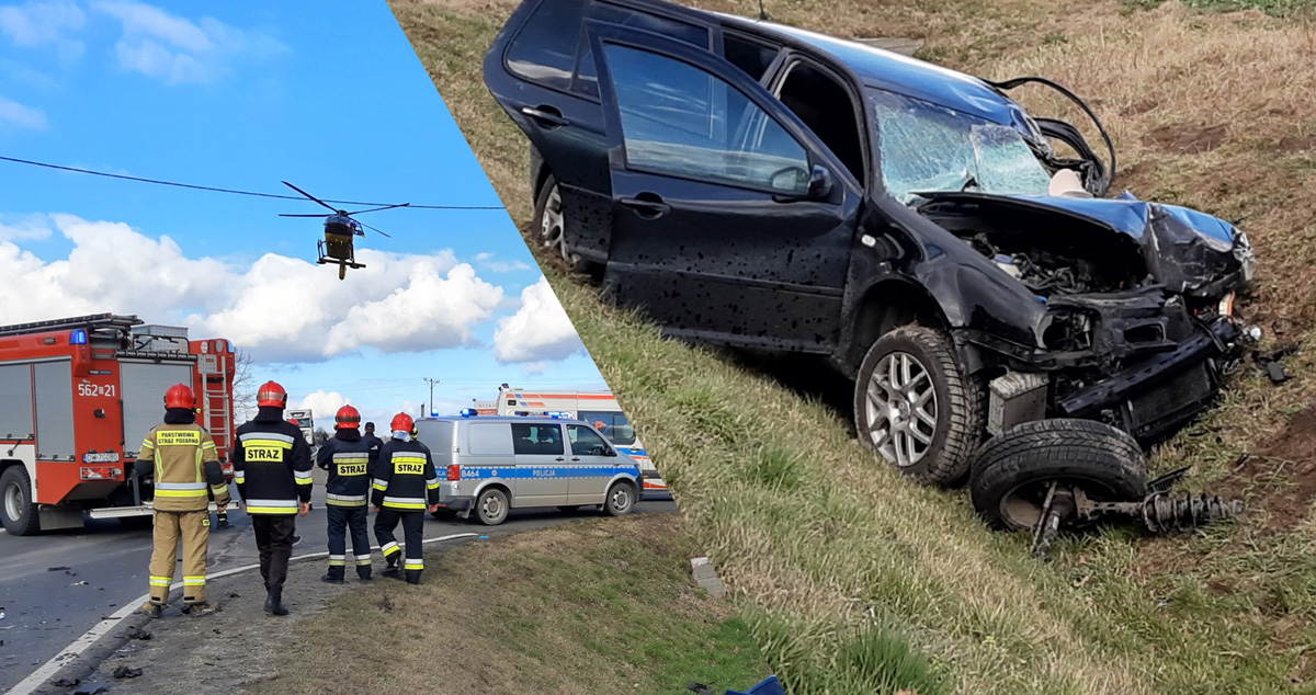 Groźny wypadek na DK nr 5! Interweniował śmigłowiec LPR [FOTO+FILM]